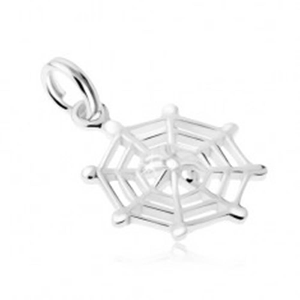 Šperky eshop Strieborný 925 prívesok, pavučina a malý pavúčik