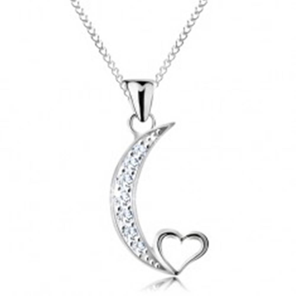 Šperky eshop Strieborný náhrdelník 925, retiazka a prívesok, cíp mesiaca a obrys srdiečka