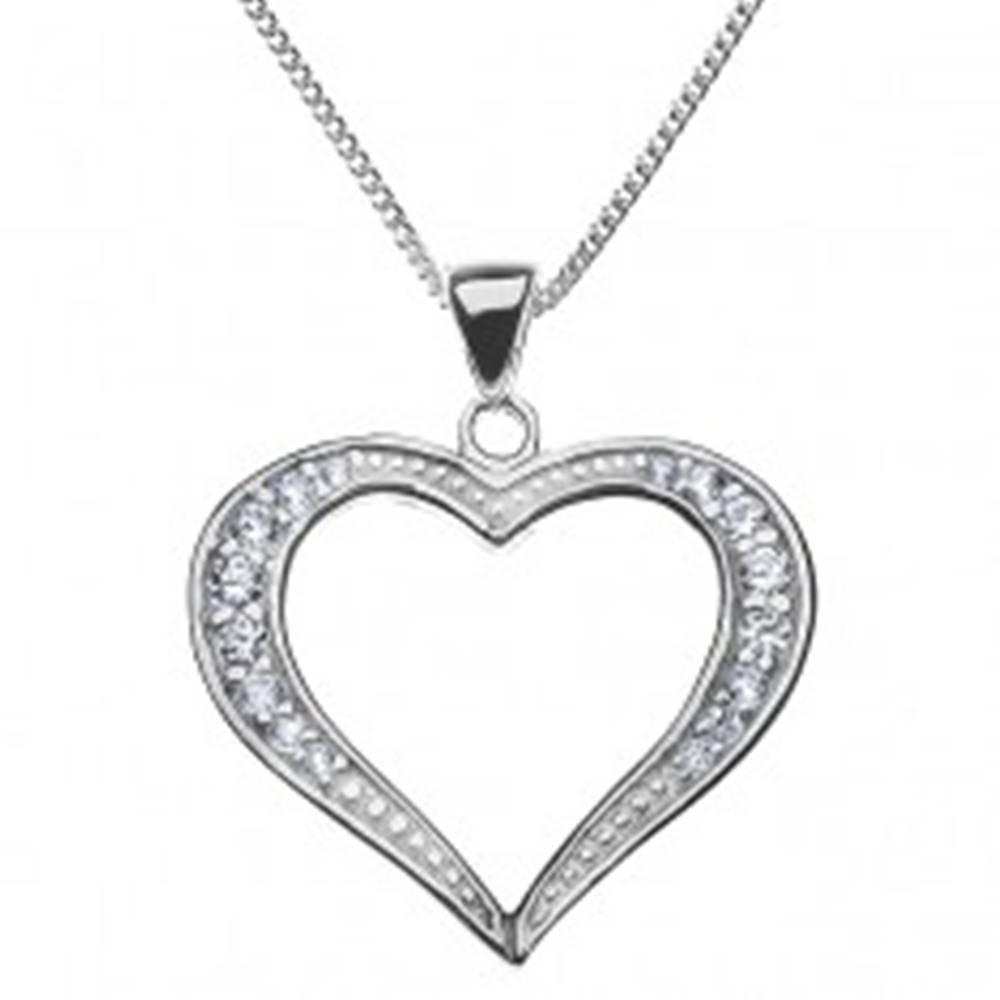 Šperky eshop Strieborný náhrdelník 925 - širšia trblietavá silueta srdca