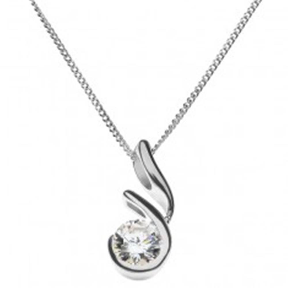 Šperky eshop Strieborný náhrdelník 925 - zirkón v otvorenom rámčeku s výbežkom