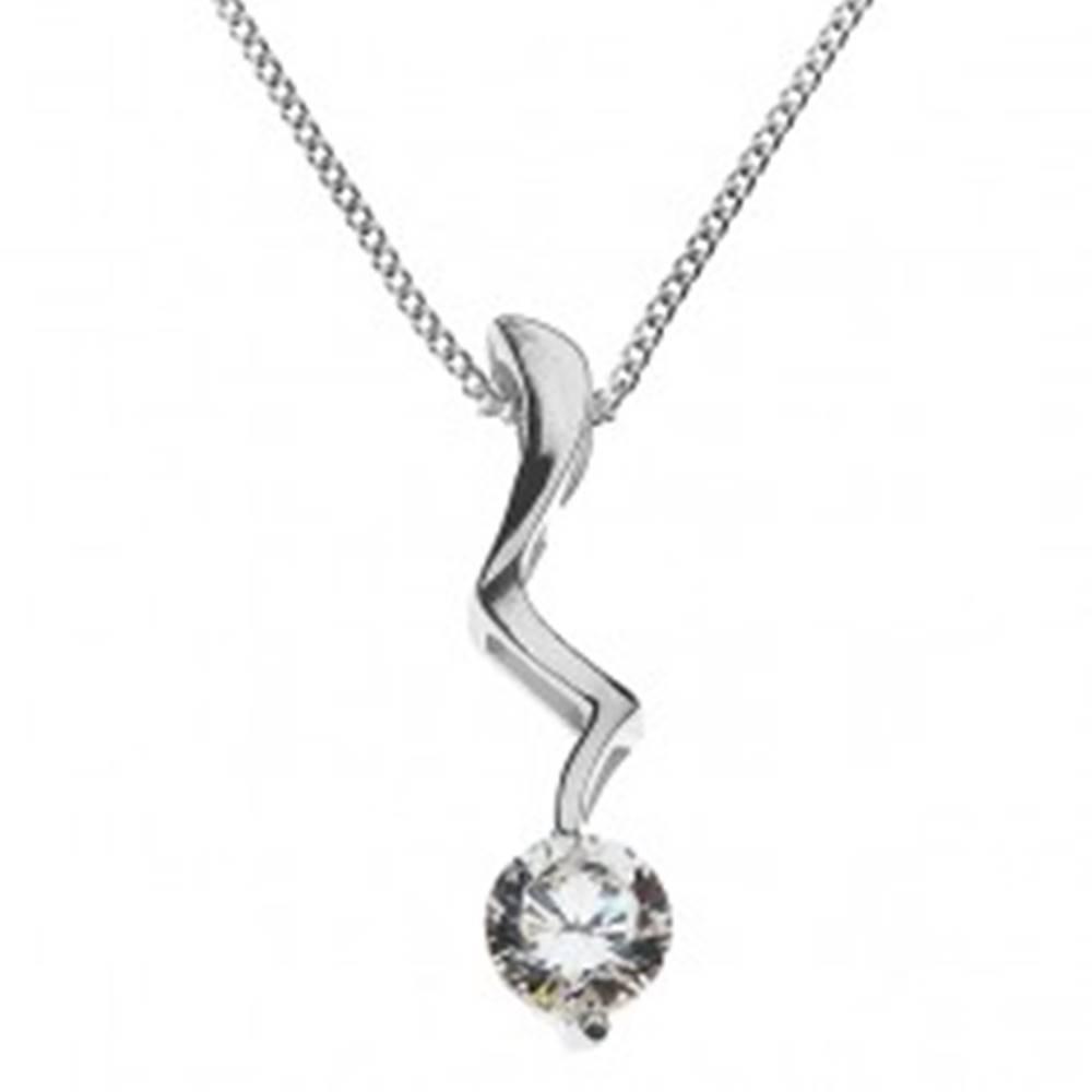 Šperky eshop Strieborný náhrdelník - blesk ukončený čírym zirkónom, striebro 925