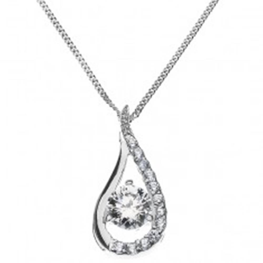 Šperky eshop Strieborný náhrdelník - predĺžená kvapka vykladaná zirkónmi, zo striebra 925