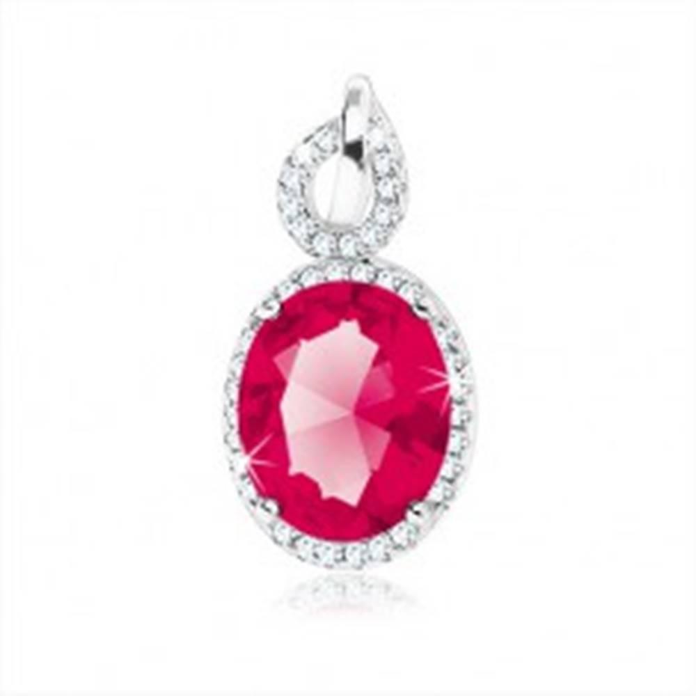 Šperky eshop Strieborný prívesok 925, červenoružový zirkónový ovál, číry lem, obrys kvapky