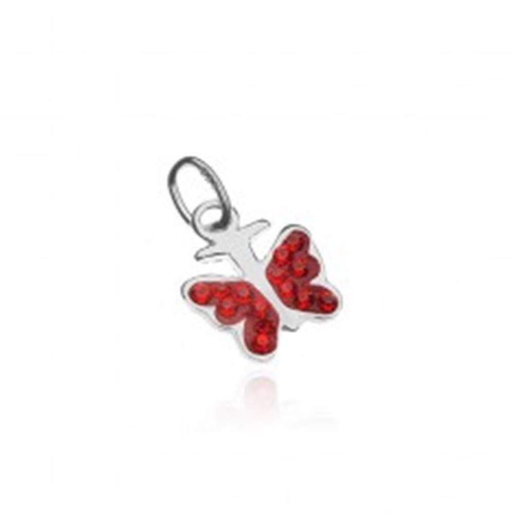 Šperky eshop Strieborný prívesok 925 - motýlik s červenými zirkónmi