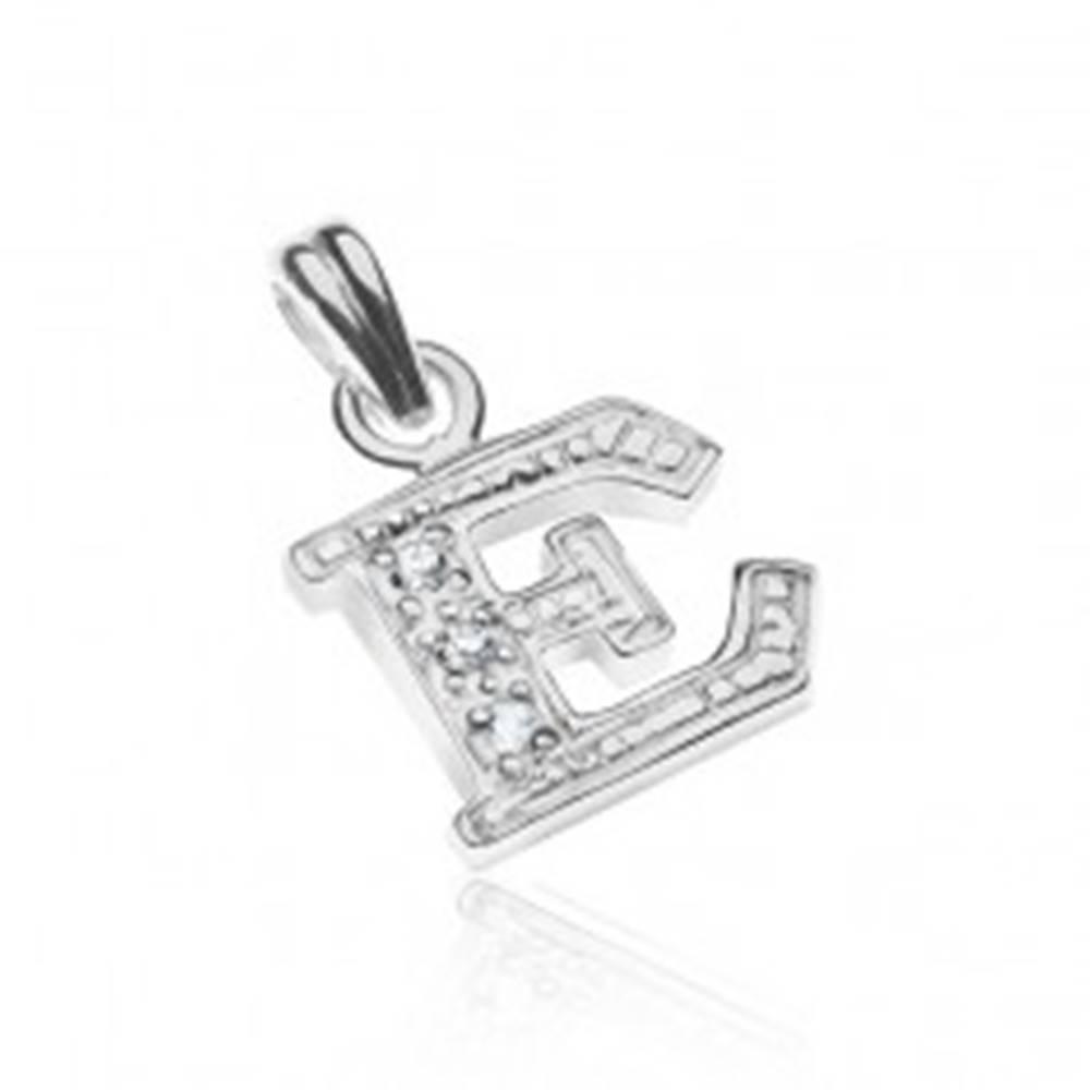Šperky eshop Strieborný prívesok 925 - tlačené trblietavé písmeno E, vsadené zirkóny