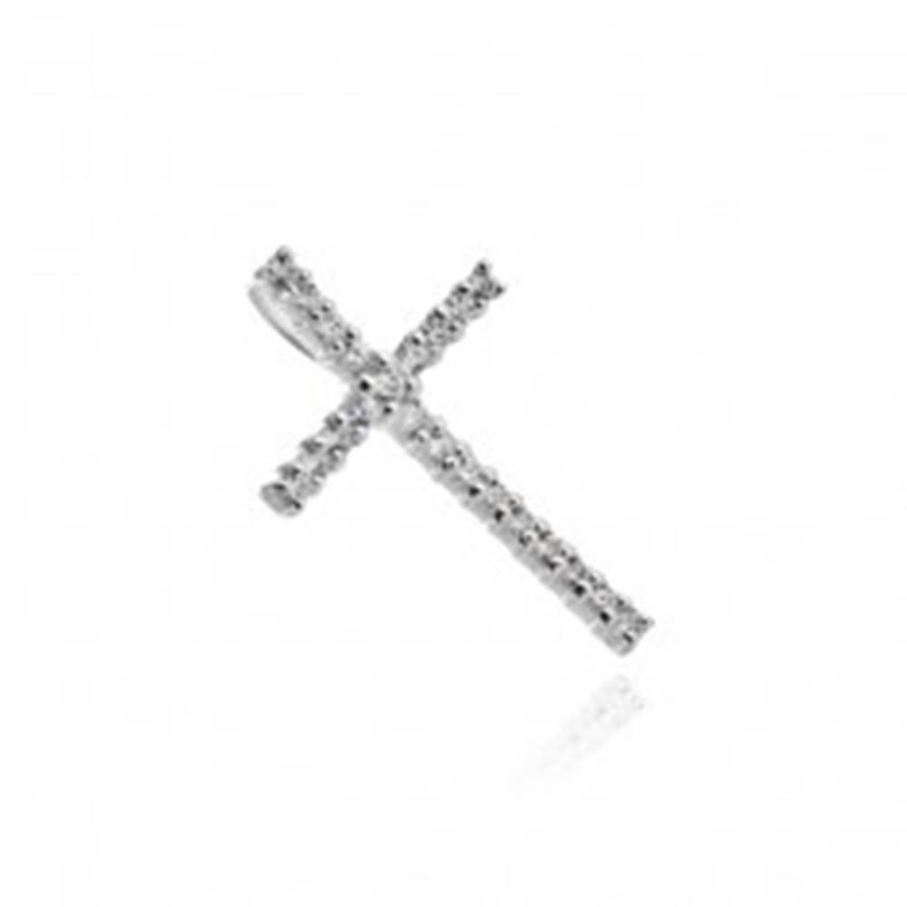 Šperky eshop Strieborný prívesok 925 - veľký trblietavý zirkónový kríž