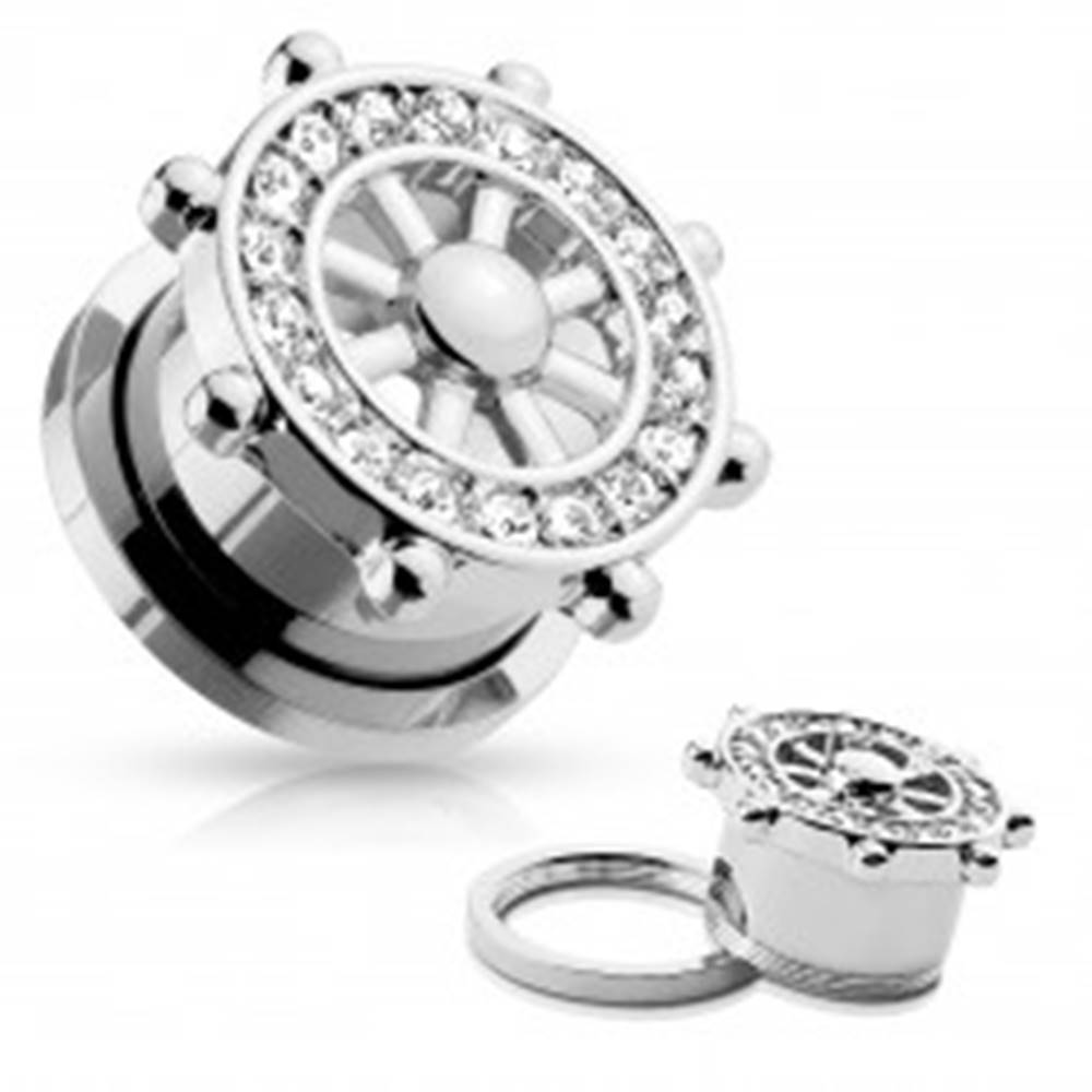 Šperky eshop Tunel plug do ucha z ocele 316L, strieborná farba, lodné kormidlo so zirkónmi - Hrúbka: 10 mm