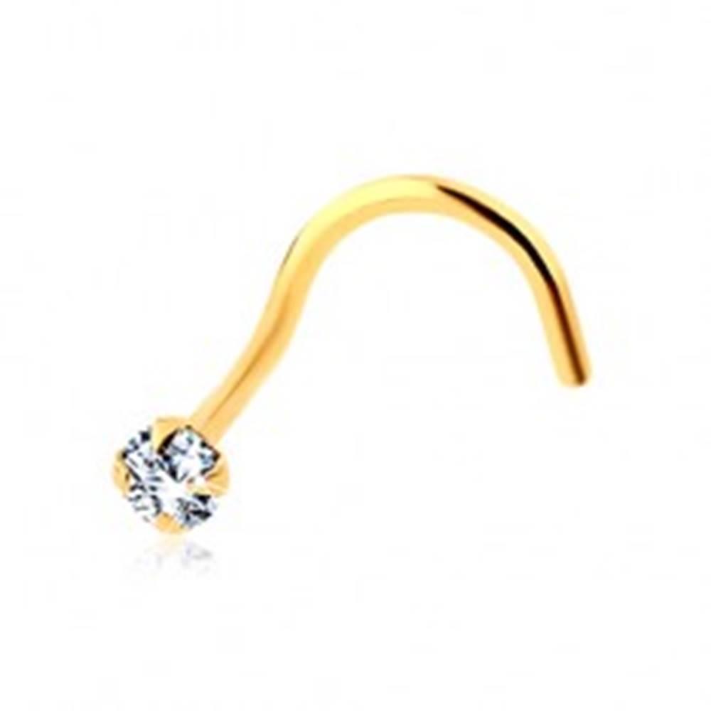 Šperky eshop Zahnutý piercing do nosa v žltom zlate 585 - trblietavý okrúhly zirkón čírej farby