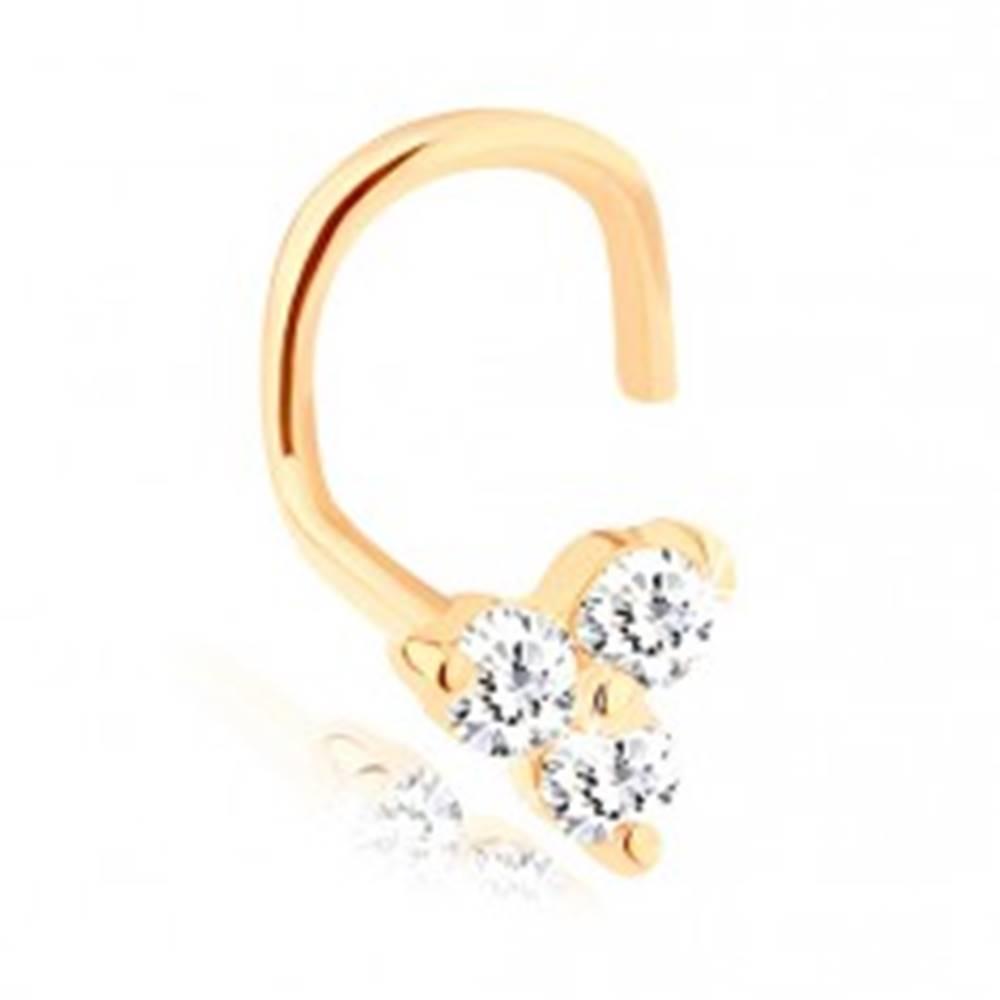 Šperky eshop Zahnutý piercing do nosa zo žltého 14K zlata - tri ligotavé číre zirkóny
