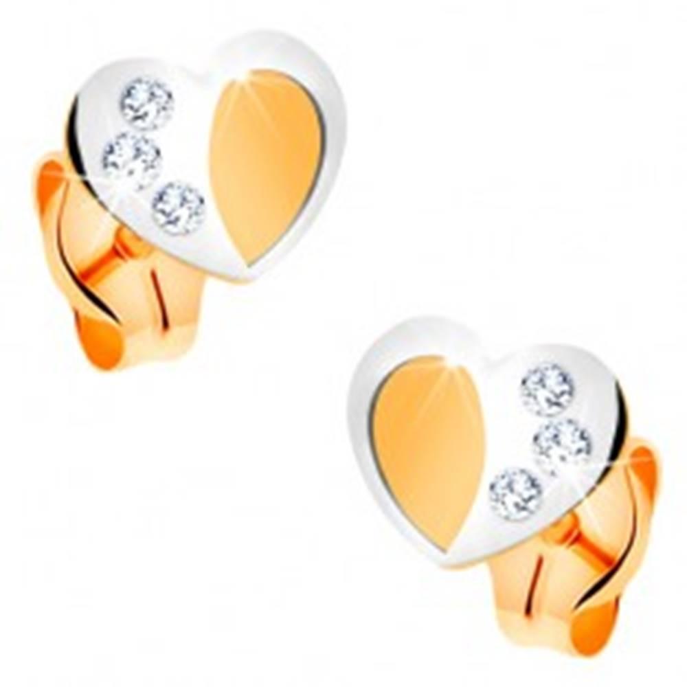 Šperky eshop Zlaté 14K náušnice - dvojfarebné srdiečko s matným povrchom a lesklou kontúrou