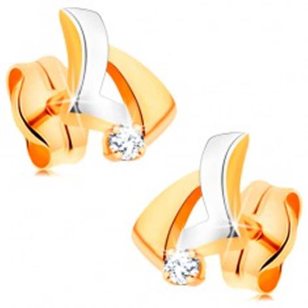 Šperky eshop Zlaté 14K náušnice - dvojfarebný asymetrický trojuholník, okrúhly číry zirkón