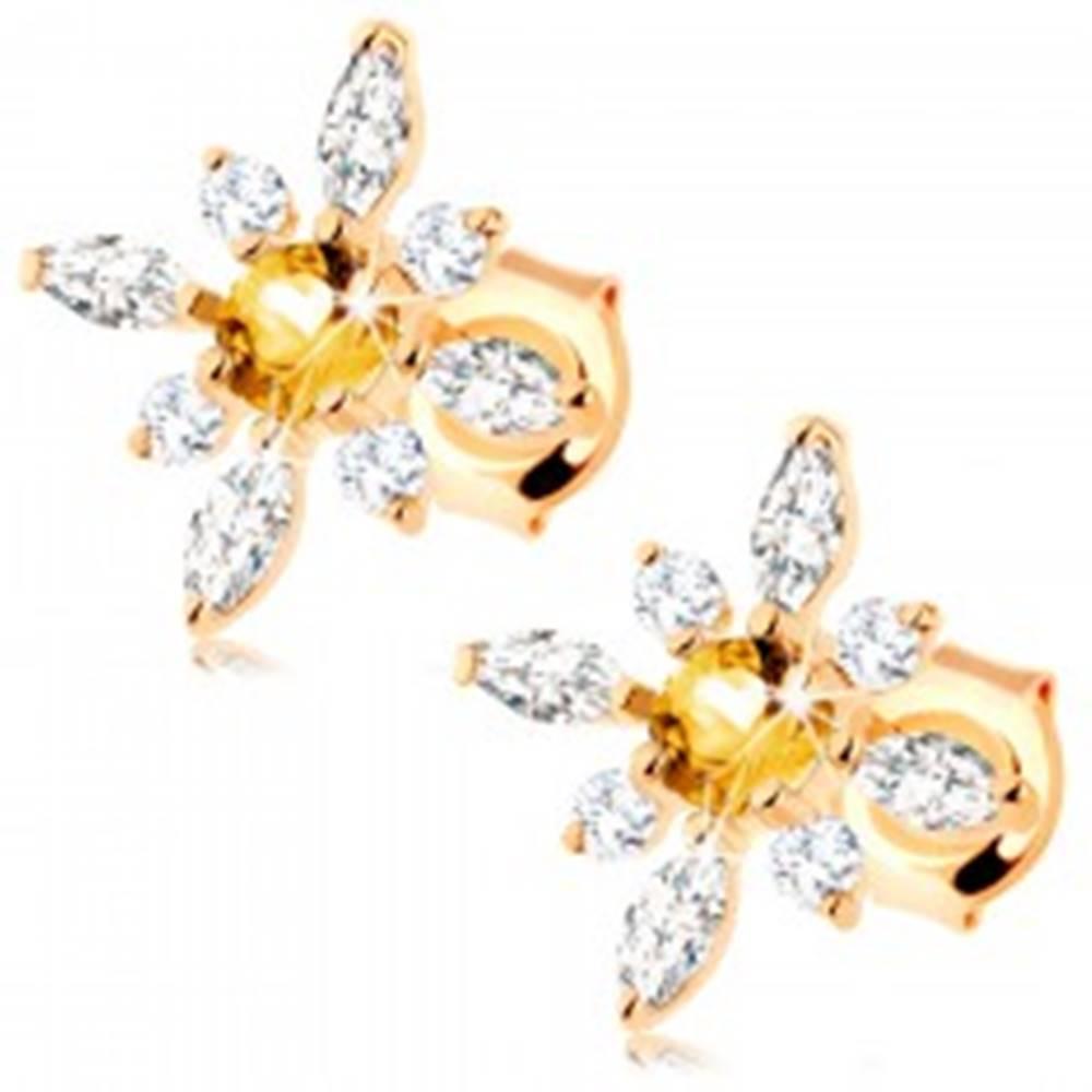 Šperky eshop Zlaté náušnice 375 - kvet zo žltého citrínu a čírych zirkónov