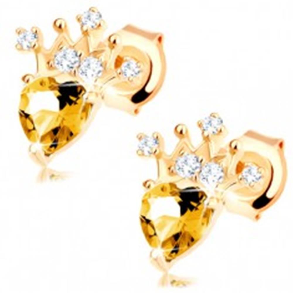 Šperky eshop Zlaté náušnice 375 - zirkónová korunka, svetložltý srdiečkový citrín