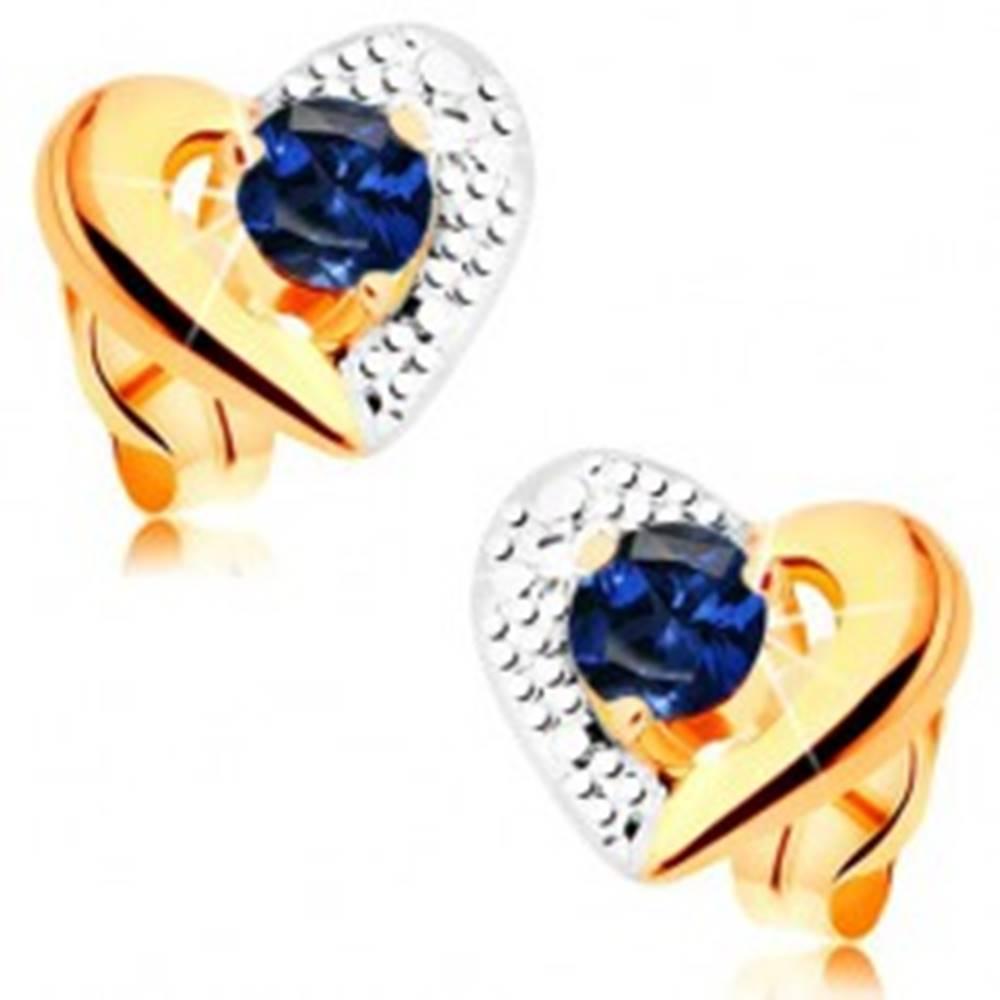Šperky eshop Zlaté náušnice 585 - dvojfarebný obrys srdca, gravírovanie, modrý zafír
