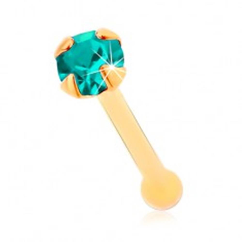 Šperky eshop Zlatý 585 piercing do nosa, rovný - ligotavý zirkónik akvamarínovej farby, 1,5 mm