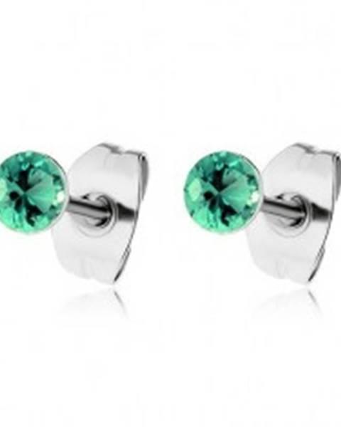 65d05752d Oceľové náušnice, okrúhle ligotavé zirkóny v zelenom odtieni SP58.14 ...