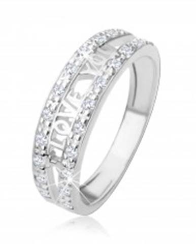 """Strieborný 925 prsteň - nápis """"I LOVE YOU"""", pásy čírych zirkónov HH1.15 - Veľkosť: 48 mm"""