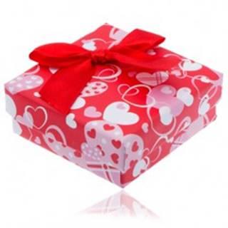 Červená srdiečková krabička na náušnice s červenou mašľou
