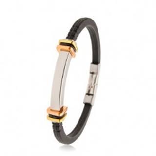 Čierny gumený náramok so zárezmi, oceľová známka, dvojfarebné štvorce