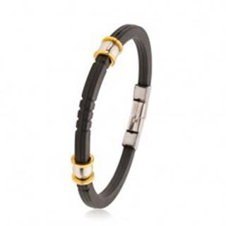 Čierny gumený náramok so zárezmi, oceľové korálky striebornej a zlatej farby