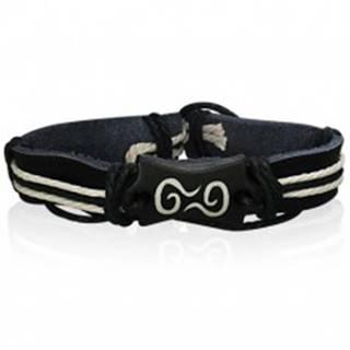 Čierny kožený náramok - symbol špirál, šnúrky