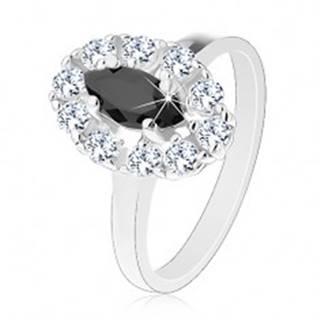 Lesklý prsteň v striebornom odtieni, čierne zrnko s čírou zirkónovou obrubou - Veľkosť: 55 mm
