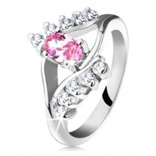 Ligotavý prsteň so zirkónovým ružovo-čírym okom, rozdvojené ramená - Veľkosť: 48 mm