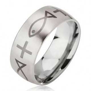 Matný prsteň z chirurgickej ocele striebornej farby, potlač kríža a ryby, 6 mm - Veľkosť: 52 mm
