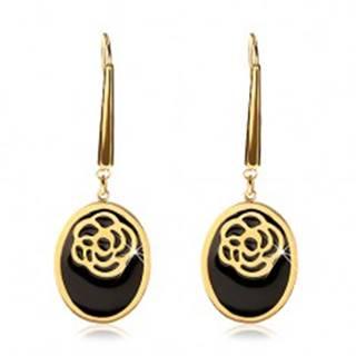 Náušnice z ocele 316L zlatej farby - ovály s čiernou glazúrou a vyrezávanou ružou