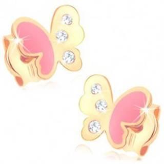 Náušnice zo žltého 14K zlata, motýlik zdobený ružovou glazúrou a zirkónmi
