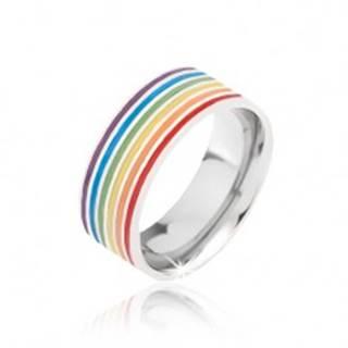 Obrúčka striebornej farby z ocele, farebné prúžky - Veľkosť: 52 mm