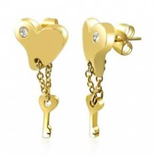 Oceľové náušnice - srdce v zlatej farbe s kľúčom na retiazke