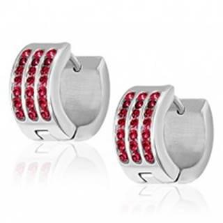 Oceľové náušnice - tri červené zirkónové pásy