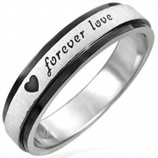 Oceľový prsteň s čiernymi krajmi, Forever Love - Veľkosť: 51 mm