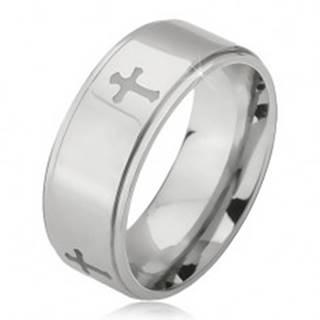 Oceľový prsteň striebornej farby, vyryté krížiky a znížené okraje, 6 mm - Veľkosť: 52 mm