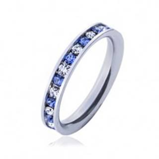 Oceľový prsteň - svetlo-modré a číre kamienky - Veľkosť: 49 mm