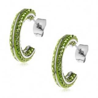 Okrúhle oceľové náušnice - malé zelené zirkóny, lesklé línie striebornej farby