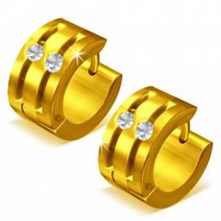 Okrúhle oceľové náušnice - zlatá farba, dve ryhy zdobené zirkónmi