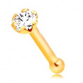 Piercing do nosa zo žltého 14K zlata - rovný tvar, číry okrúhly zirkónik, 1,5 mm