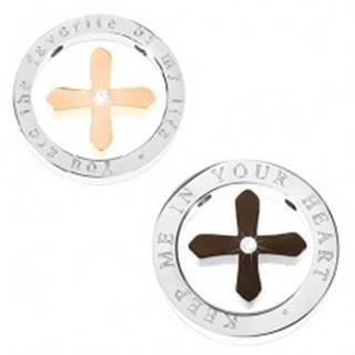 Prívesok pre pár - čierny a medený kríž v obruči striebornej farby s nápisom