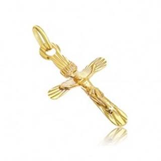 Prívesok zo 14K zlata - oválny kríž s vystúpeným Kristom