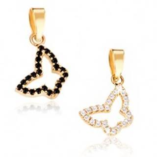 Prívesok zo zlata 14K - obrys motýlika, dve farebné kombinácie, kamienky  - Farba: Číra
