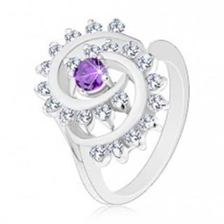 Prsteň striebornej farby, veľká špriála z čírych zirkónikov s fialovým stredom - Veľkosť: 51 mm