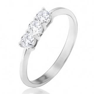 Prsteň v bielom 14K zlate - tri okrúhle číre zirkóny, lesklý, hladký - Veľkosť: 48 mm