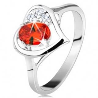 Prsteň v striebornej farbe, kontúra srdca s oranžovým oválom a čírymi zirkónmi - Veľkosť: 50 mm