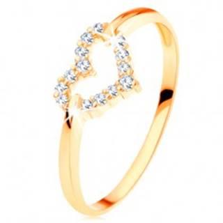 Prsteň v žltom 14K zlate - trblietavý obrys súmerného srdiečka - Veľkosť: 49 mm