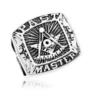 Prsteň z chirurgickej ocele, symboly slobodomurárov a nápis, čierna patina - Veľkosť: 57 mm