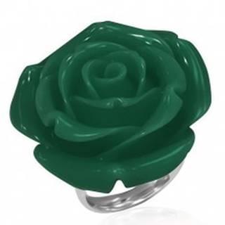 Prsteň z chirurgickej ocele - zelená ruža, živica - Veľkosť: 49 mm