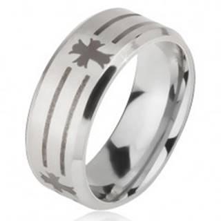 Prsteň z ocele 316L striebornej farby, potlač pásov a krížov, 6 mm - Veľkosť: 52 mm