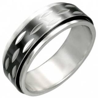 Prsteň z ocele s pohyblivým čiernym prstencom - Veľkosť: 54 mm